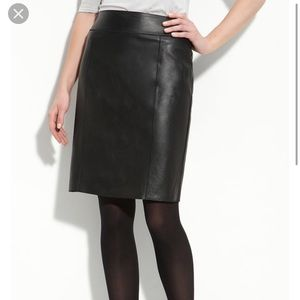 3d694bfd5a Halogen | Black Leather seamed Pencil skirt S